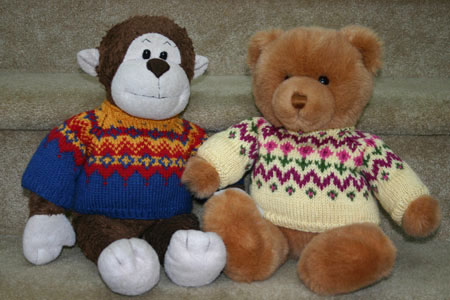 Free Knitting Pattern for a Fair Isle style teddy bear sweater | Two