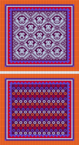 Aubergine, orange, pastel blue, red, cornflower (Freestyle equivalents of original colorway)