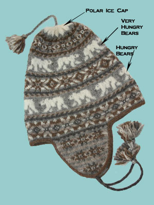 Polar Chullo by Mary Ann Stephens, in the Winter '09 Twist Collective, a fair isle polar bear ear flap hat