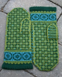 Postwar Mittens, an original stranded knitting design for Latvian-style ladies' mittens