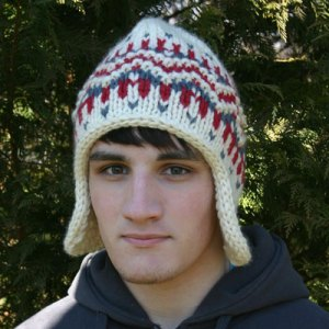 Earflap Hat knit in Dale of Norway Hubro wool yarn