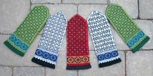 Postwar Mittens, latvian-style colorwork in Dale of Norway Baby Ull yarn