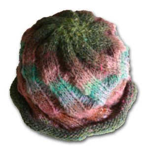 Twist and Sprout Hat knit in Noro Kureyon yarn