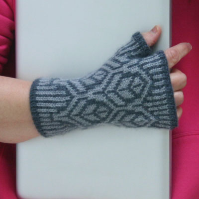 stranded knit fingerless mittens