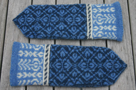 fair isle style mittens with hidden thumbs
