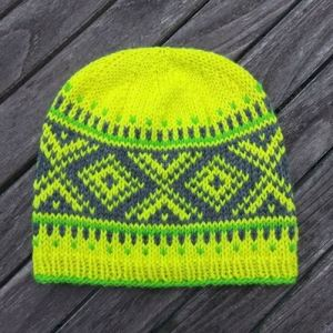 neon fair isle knit hat