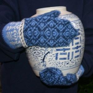 Tulip Mittens, fair isle ladies' mittens knit in shetland spindrift yarn