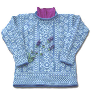 Ladies' Wintergarden Pullover, a stranded knitting design with Norwegian and Fair Isle influences, knit in Dale of Norway Heilo yarn