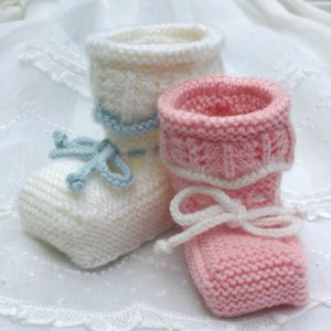 Booties for a Special Day, a knitting design by Mary Ann Stephens for Kidsknits.com