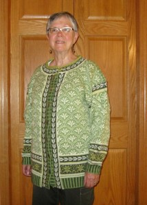 Tiger Lily Jacket in a green colorway, knit and worn by Ruth