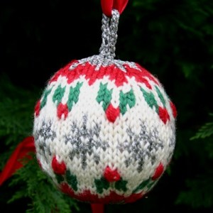 Holly Ball Christmas ornament, a free knitting pattern by Mary Ann Stephens at Kidsknits.com