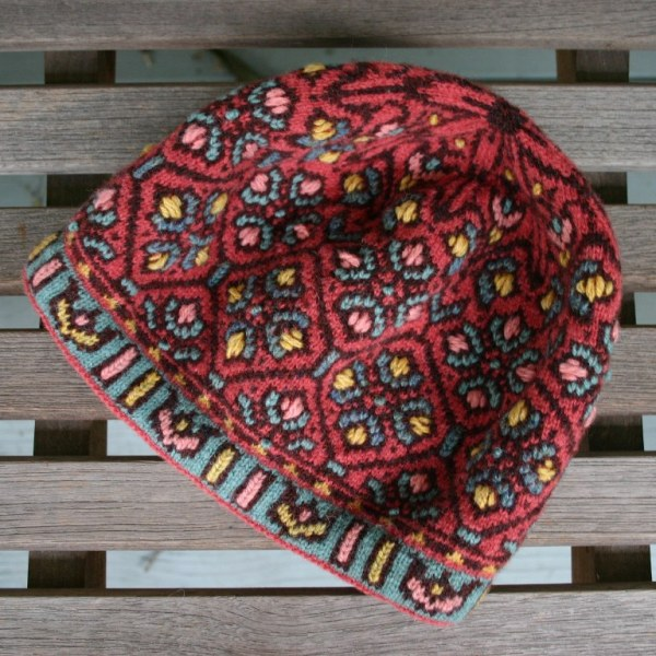 Fair Isle hat with embroidery, Allamanda Hat, by Mary Ann Stephens, copryright 2012