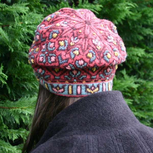 Fair Isle knitting with embroidery, the Allamanda Hat, designed by Mary Ann Stephens