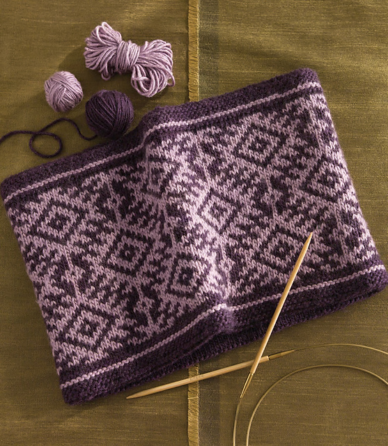 Fair Isle Cowl In 60 Quick Luxury Knits Two Strands
