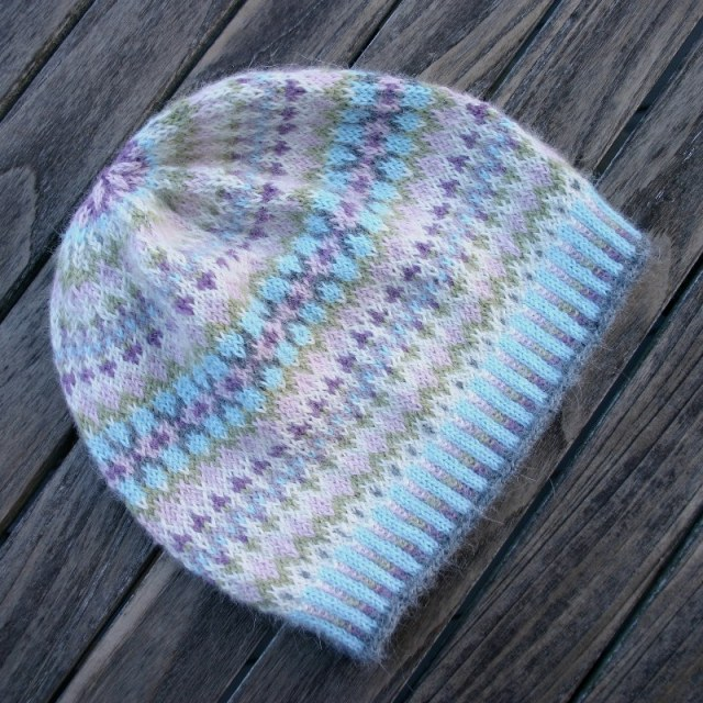 Gentle Hat, a ladies' Fair Isle hat design, by Mary Ann Stephens.  Knitting kits in 100% alpaca available through Kidsknits.com.rough