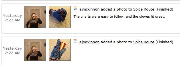 excerpt from Ravelry designer's activity page