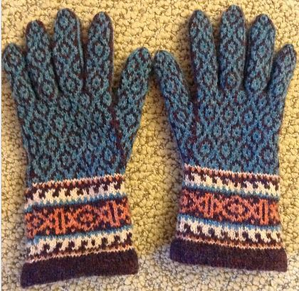 Spice Route Gloves knit by Andrea McKinnon