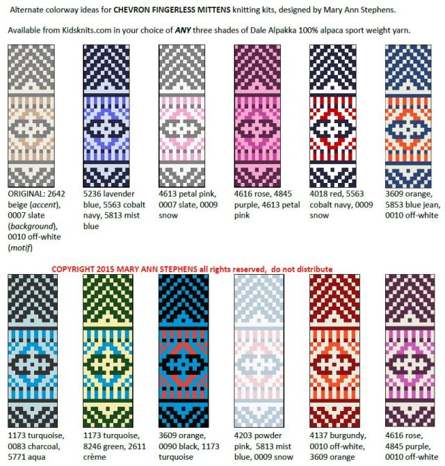 chevron mittens colorways