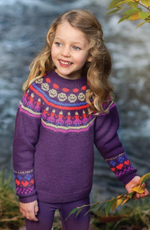 girls rounded yoke sweater with paper dolls