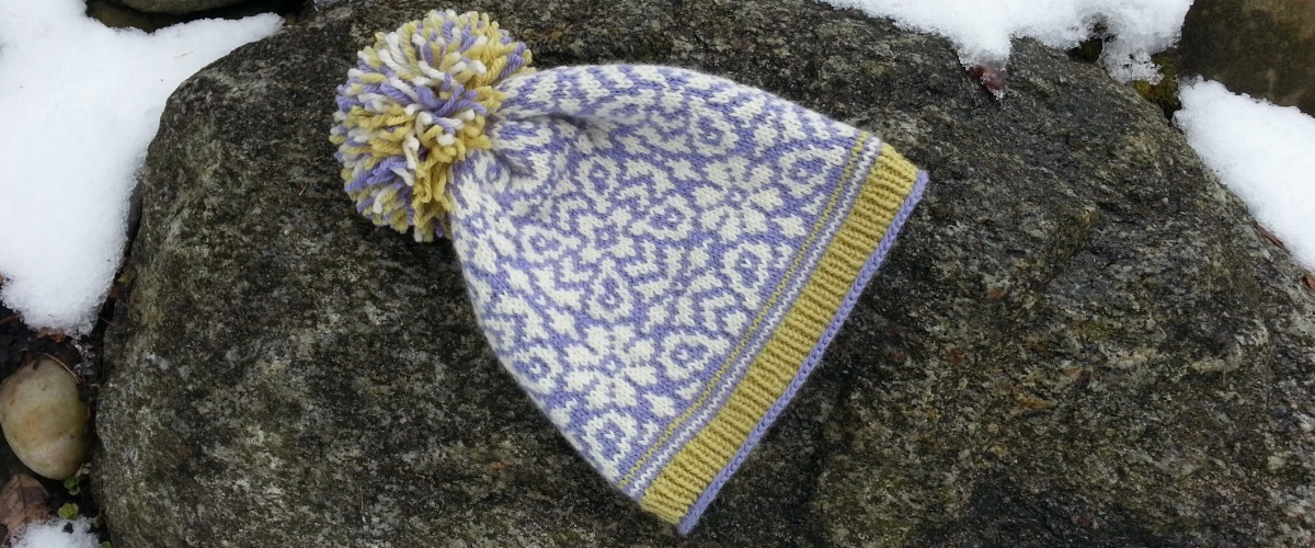 Fair Isle knit hat, I Spy a Crocus, by Mary Ann Stephens.