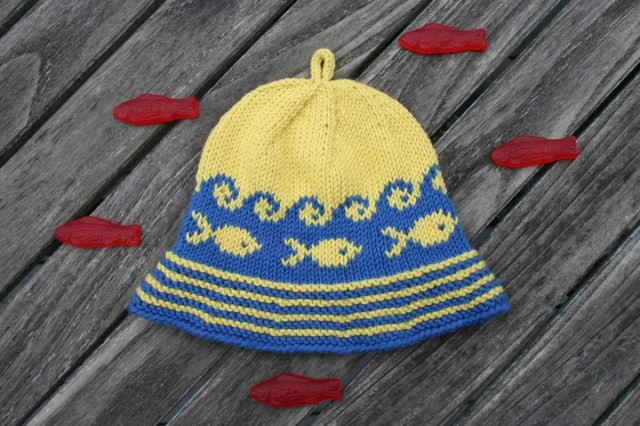 Littlest Fisherman's Hat, a knitting design from Kidsknits.com.  Yarn and pattern available through Kidsknits.  PDF available through Ravelry.