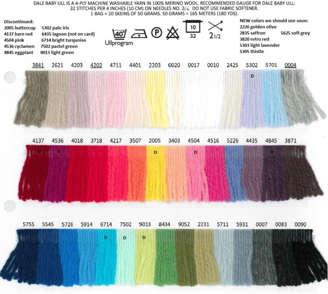 Baby Ull superwash merino yarn color card