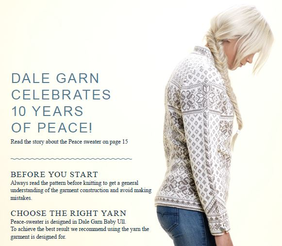 free knitting pattern for Dale Peace sweater