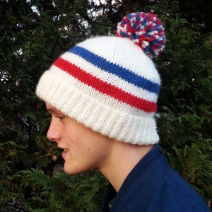 Sports Fan Hat, a free knitting pattern for an adult's ski hat.