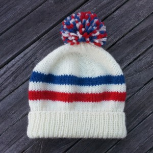 free knitting pattern for unisex knit hat with fold up ribbing and stripes