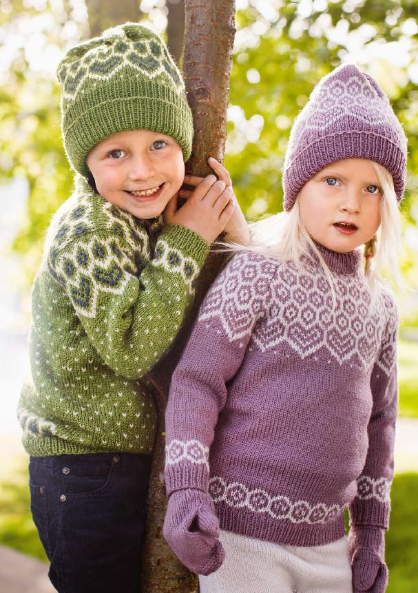 kids' Norwegian sweater knitting patterns from Dale Garn Book 320