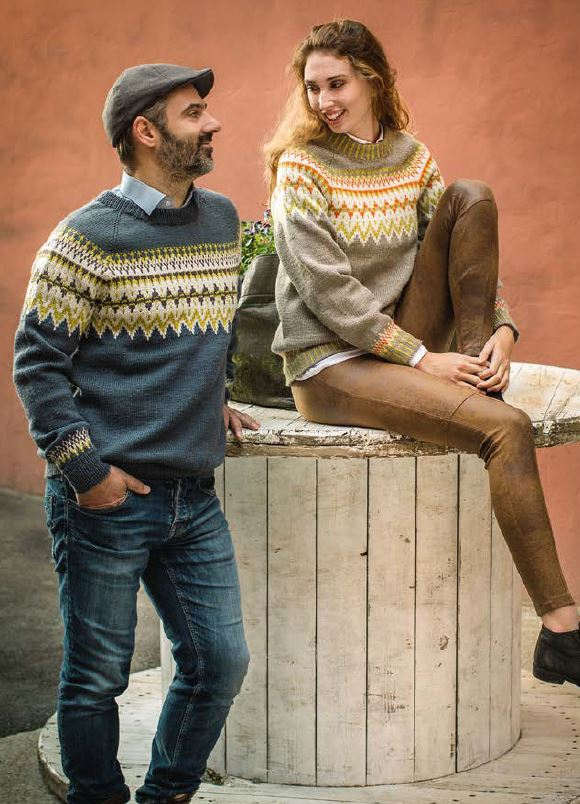 Norwegian unisex pullover sweater knitting pattern from Dale Garn
