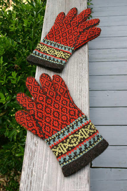 Spice Route Gloves, a Fair Isle knitting design