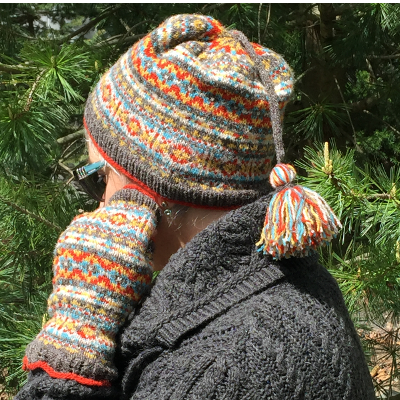 Calling Scotland, a Fair Isle style hat and fingerless mittens set knitting design by Mary Ann Stephens
