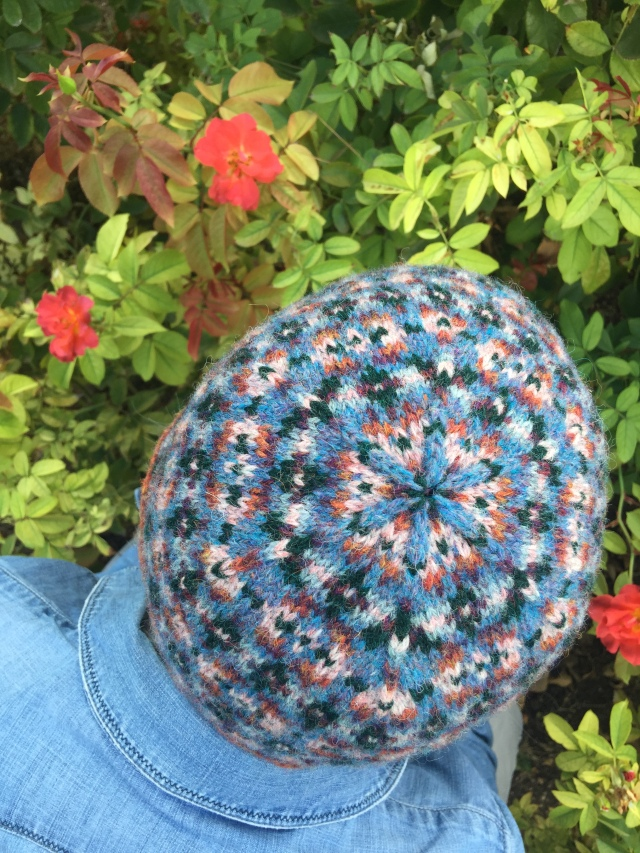 flower formed on top of Fair Isle knit Rose Arbor hat