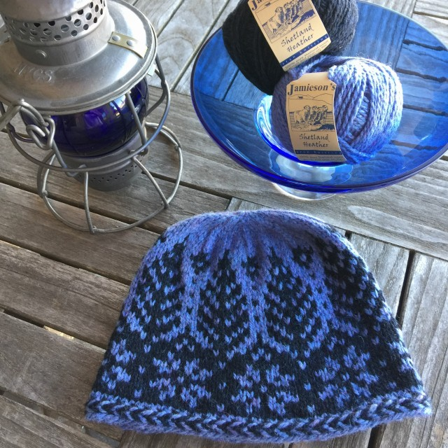 Timbers Hat in blue with Aran weight yarn