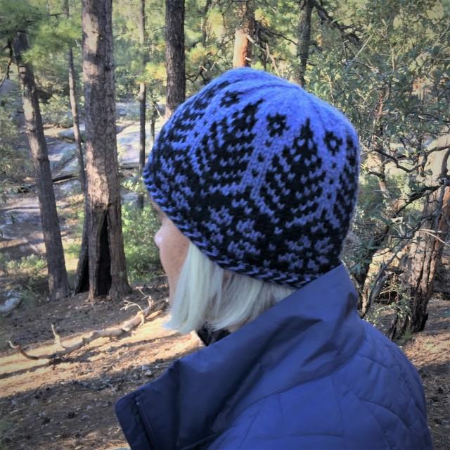 Timbers Hat in Heather Aran blues on Mt. Lemmon