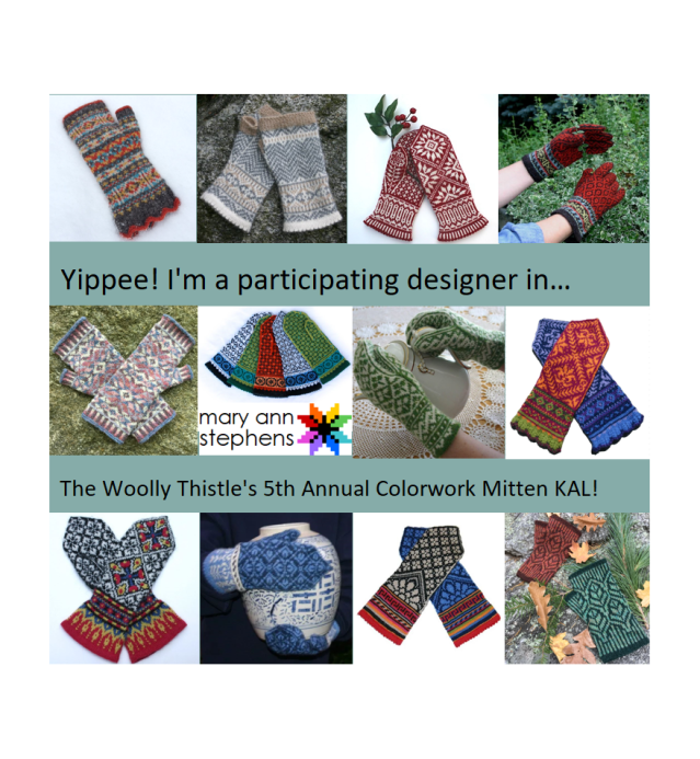 Mitten knitting patterns by MAS on sale through Ravelry this month
